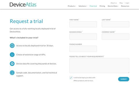 Screenshot of Trial Page deviceatlas.com - DeviceAtlas Enterprise/OEM Trial Sign Up - captured May 22, 2017