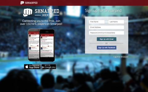 Screenshot of Signup Page shnarped.com - Shnarped Hockey - captured Oct. 27, 2014