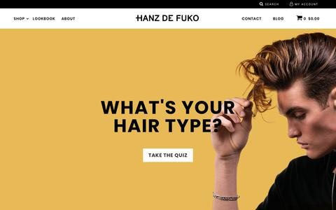Screenshot of Home Page hanzdefuko.com - Hanz de Fuko | Mens Hair Products | Shop Online - captured Sept. 27, 2018
