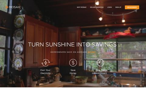 Screenshot of Home Page joinmosaic.com - Home Solar Panel Loans | Affordable Financing | Mosaic - captured Jan. 12, 2016