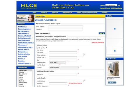Screenshot of Login Page secure-41.co.uk - Login : HLCE Catering Equipment, Complete Catering Equipment Specialist - captured Oct. 28, 2014