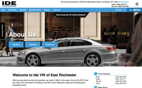 Screenshot of About Page idevw.com - Volkswagen and Used Car Dealer in Rochester | Ide VW of East Rochester - captured Feb. 7, 2018