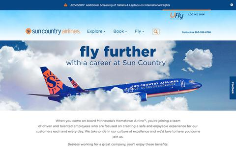 Screenshot of Jobs Page suncountry.com - Sun Country Careers   Sun Country Airlines - captured Oct. 18, 2017