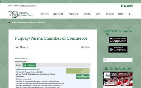 Screenshot of Jobs Page fuquay-varina.com - Job Search - Fuquay-Varina Chamber of Commerce - captured Oct. 14, 2017