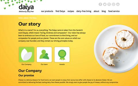 Screenshot of About Page daiyafoods.com - Daiya Foods information and background - captured Sept. 19, 2014