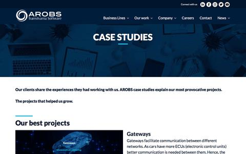 Screenshot of Case Studies Page arobs.com - Our Best Projects Case Studies AROBS: Our Extensive Expertise - captured Dec. 10, 2019