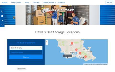Screenshot of Locations Page hawaiiselfstorage.com - Hawai'i Self Storage Locations - captured July 17, 2018
