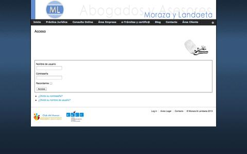 Screenshot of Login Page morazaylandaeta.es - Acceso - captured Oct. 26, 2014