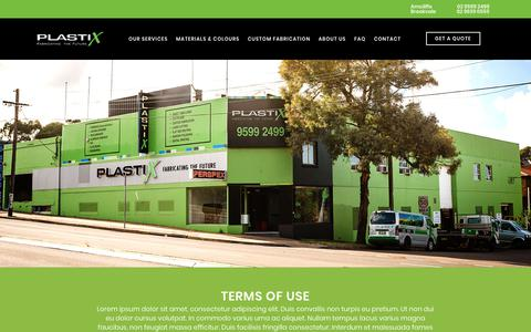 Screenshot of Terms Page plastix.com.au - Terms of Use - Plastix - captured Sept. 28, 2018