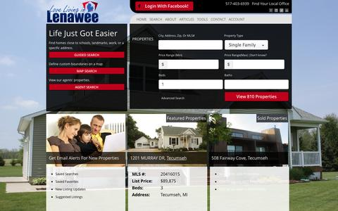 Screenshot of Home Page lovelivinginlenawee.com - Montalvo Real Estate Team - Providing Real Estate Services in Adrian and Tecumseh - captured Oct. 3, 2014