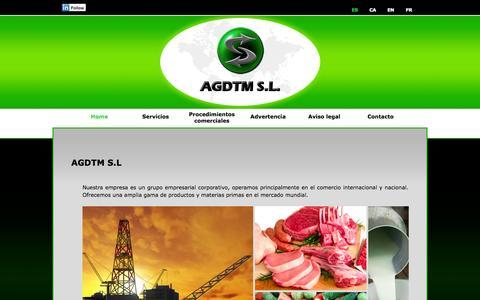 Screenshot of Home Page agdtm.com - AGDTM S.L. - captured Oct. 1, 2014