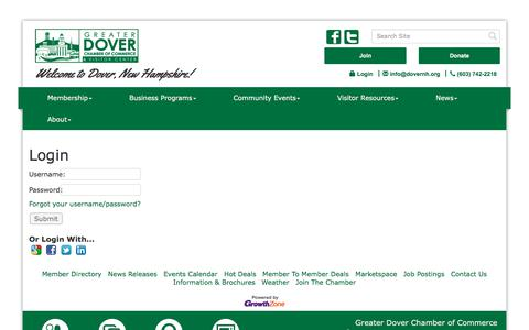 Screenshot of Login Page dovernh.org - Login - Greater Dover Chamber of Commerce,NH - captured Sept. 10, 2017