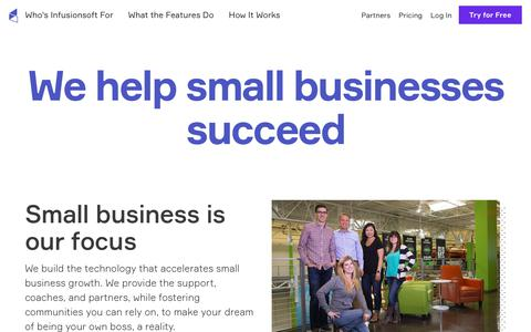 Screenshot of About Page infusionsoft.com - We Help Small Businesses Succeed | About Infusionsoft - captured April 17, 2018