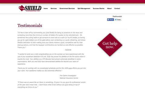 Screenshot of Testimonials Page shieldengineering.com - Testimonials - Shield Engineering - captured Oct. 7, 2014