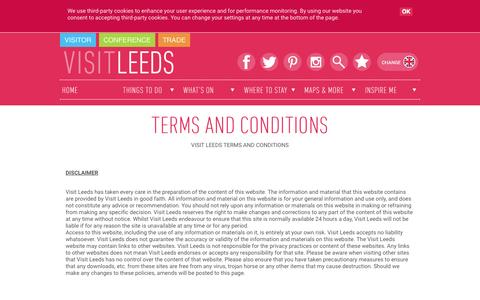 Screenshot of Terms Page visitleeds.co.uk - Visit Leeds Terms and Conditions - captured Oct. 14, 2015