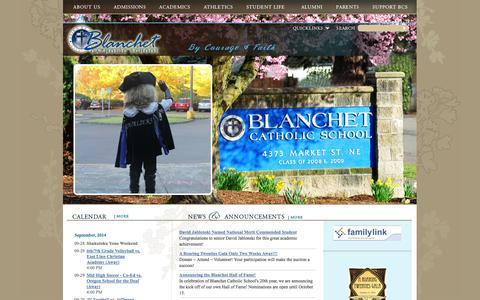 Screenshot of Home Page blanchetcatholicschool.com - Blanchet Catholic School - captured Sept. 30, 2014
