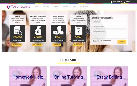 Screenshot of Home Page tutorsland.com - Online Homework Help, College Homework help, Online Tutoring services - captured June 23, 2017