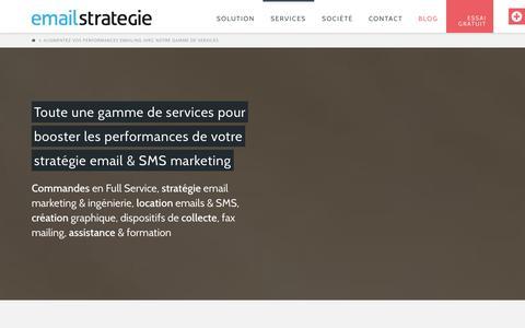 Screenshot of Services Page emailstrategie.com - Augmentez vos performances emailing avec notre gamme de services - captured Oct. 28, 2014