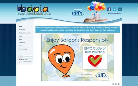 Screenshot of Home Page bapiaonline.com - BAPIA Ltd - Home - captured Sept. 18, 2017