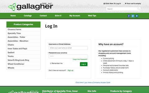 Screenshot of Login Page gallaghertire.com - Gallagher Tire, Inc. :: Log In - captured Sept. 26, 2018