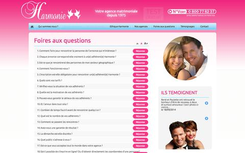Screenshot of FAQ Page agence-harmonie.fr - Agence Harmonie FAQ - captured Sept. 30, 2014