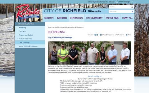 Screenshot of Jobs Page cityofrichfield.org - City of Richfield, MN : Job Openings - captured Dec. 9, 2015