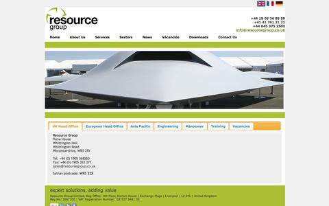 Screenshot of Contact Page resourcegroup.co.uk - Contact Us - captured Oct. 26, 2014
