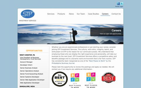 Screenshot of Jobs Page stpis.com - STP Investment Services :: Careers - captured Oct. 1, 2018