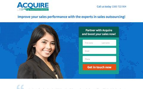 Screenshot of Landing Page acquirebpo.com - Acquire BPO | Sales Outsourcing - captured Dec. 17, 2015
