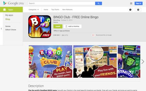 Screenshot of Android App Page google.com - BINGO Club - FREE Online Bingo - Android Apps on Google Play - captured Nov. 3, 2014