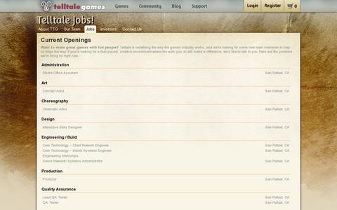 Screenshot of Jobs Page telltalegames.com - Telltale Games - Job Listings - captured July 20, 2014