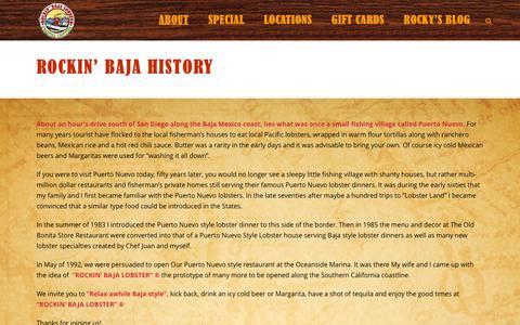 Screenshot of About Page rockinbaja.com - The Tale of the Lobster | Rockin' Baja Lobster -Coastal Cantina - captured Feb. 21, 2016