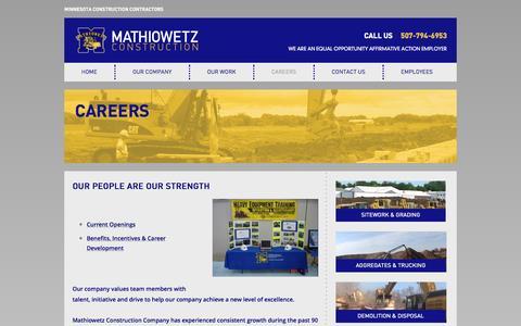 Screenshot of Jobs Page mathiowetzconst.com - Careers | Mathiowetz Construction - captured Oct. 27, 2014