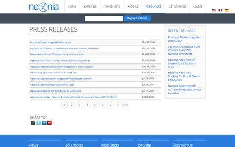 Screenshot of Press Page nexonia.com - Expense Reports and Timesheets Press Releases - Nexonia - captured Nov. 4, 2014