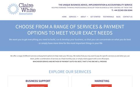 Screenshot of Services Page clairewhite.co.uk - Choose from a range of services & payment options to meet your exact needs - captured Nov. 7, 2016