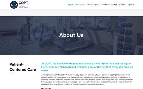 Screenshot of About Page coptnj.com - About - Comprehensive Orthopedic Physical Therapy - captured Sept. 29, 2018