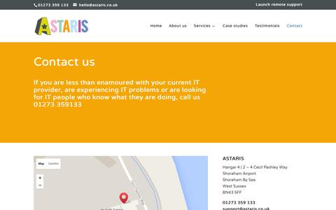 Screenshot of Contact Page astaris.co.uk - Contact   Astaris - Managed IT Services & Managed Networks - captured Feb. 6, 2016