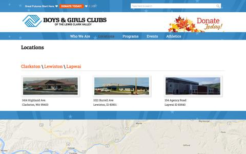 Screenshot of Locations Page poweroftheclub.org - Locations | Boys & Girls Clubs of the Lewis-Clark Valley - captured Nov. 23, 2016