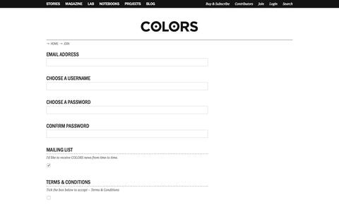 Screenshot of Signup Page colorsmagazine.com - Join | COLORS Magazine - captured July 3, 2016