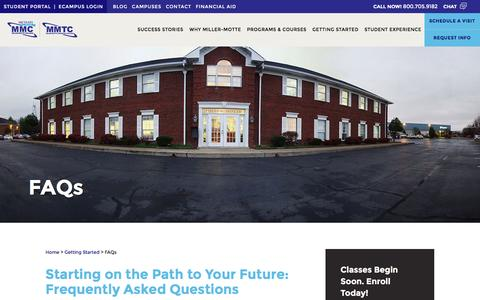 Screenshot of Pricing Page miller-motte.edu - FAQs About Our Career & Technical Education Programs   Miller-Motte - captured Nov. 2, 2016