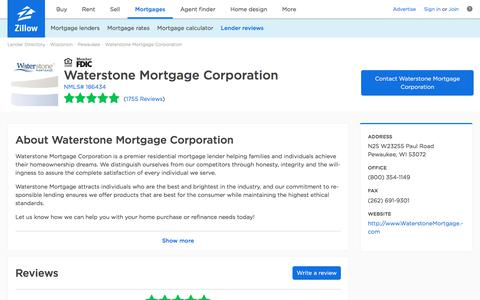 Waterstone Mortgage Corporation Ratings and Reviews   Zillow