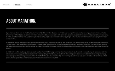 Screenshot of About Page marathonmusicmgmt.com - About — MARATHON MUSIC MGMT - captured Aug. 9, 2016