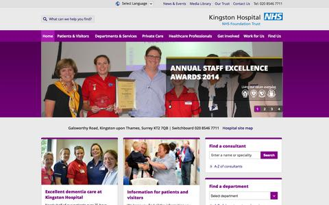 Screenshot of Home Page kingstonhospital.nhs.uk - Kingston Hospital | Home - captured Oct. 6, 2014