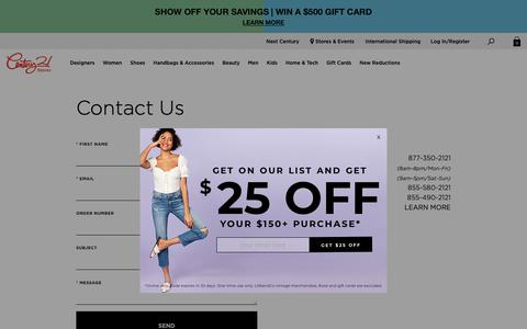Screenshot of Contact Page c21stores.com - Contact Us | Century 21 Stores - captured April 24, 2019