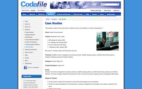 Screenshot of Case Studies Page codafile.co.nz - Case Studies - Codafile Innovative Records Management - New Zealand - captured Oct. 2, 2014