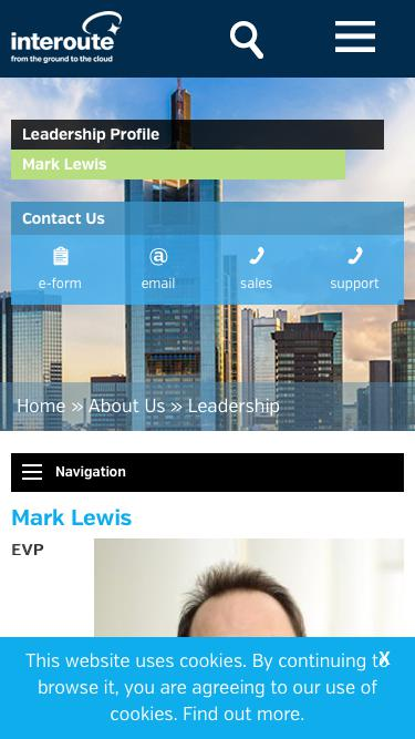 Screenshot of Team Page  interoute.com - Mark Lewis | EVP Communications & Connectivity | Interoute