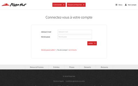 Screenshot of Login Page pizzahut.fr - Pizza Hut France - captured Sept. 14, 2016