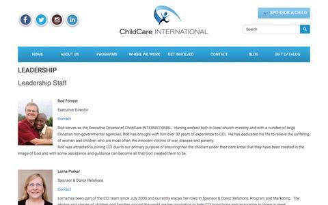 Screenshot of Team Page childcareinternational.ca - Leadership | ChildCare INTERNATIONAL – Child Sponsorship Organization - captured Jan. 27, 2016