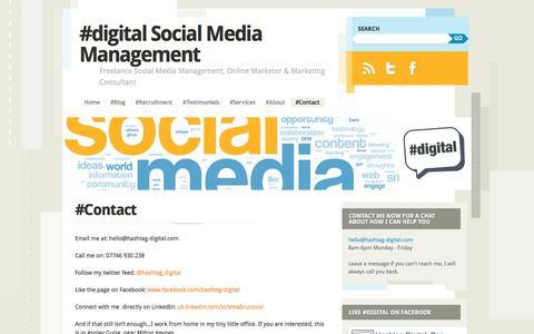 Screenshot of Contact Page hashtag-digital.com - #Contact | #digital Social Media Management - captured Oct. 30, 2016