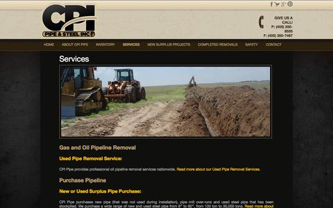Screenshot of Services Page cpipipe.com - Oil Pipeline Removal Company | Natural Gas Pipeline Removal Service - captured Oct. 1, 2014